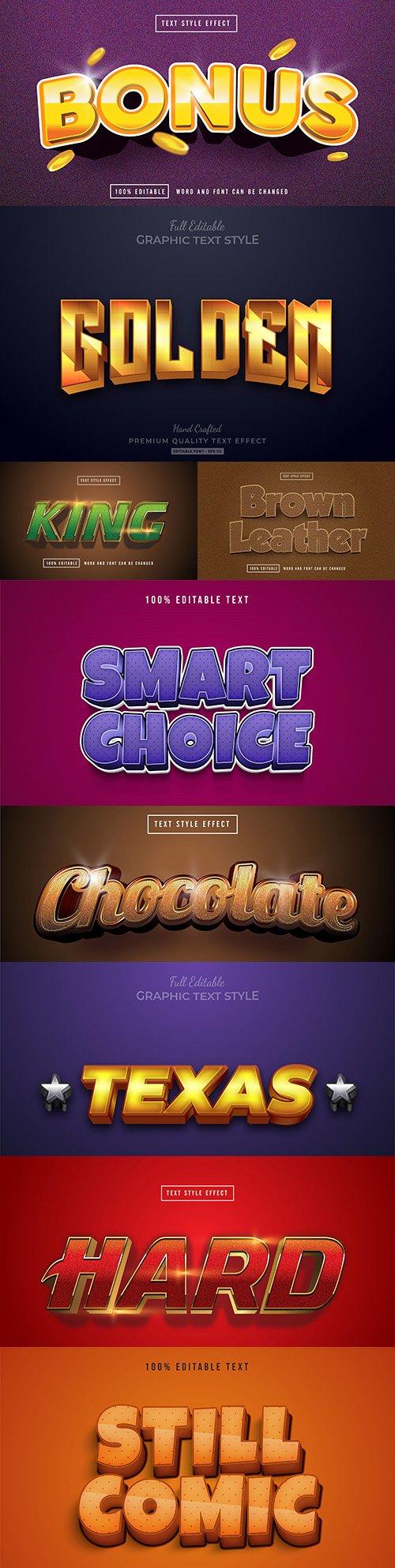 Editable font effect text collection illustration design 219