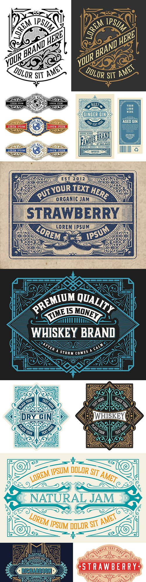 Vintage logo and etiquette template with detailed design 5