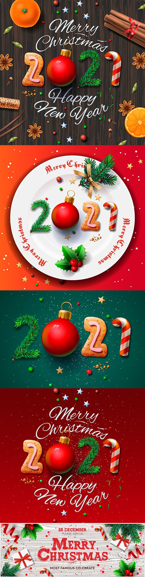 Greeting card for Christmas and New Year 2021