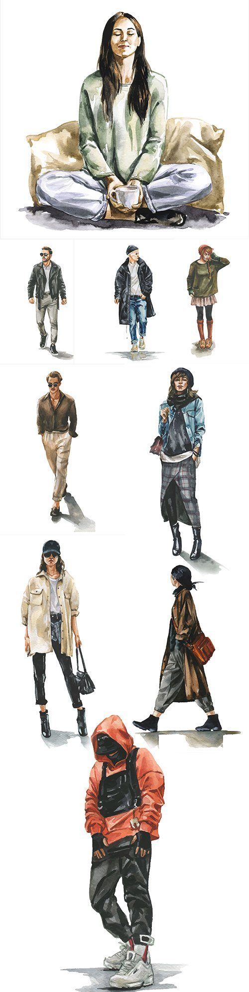 People in different clothes and poses watercolor illustrations