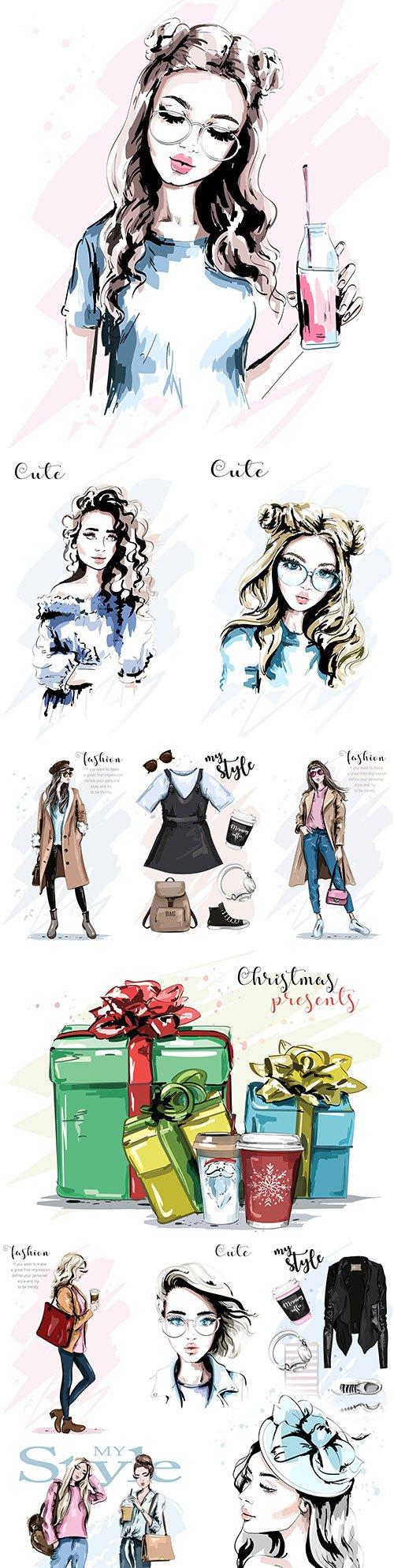 Women pose for fashion cover stylish design illustrations