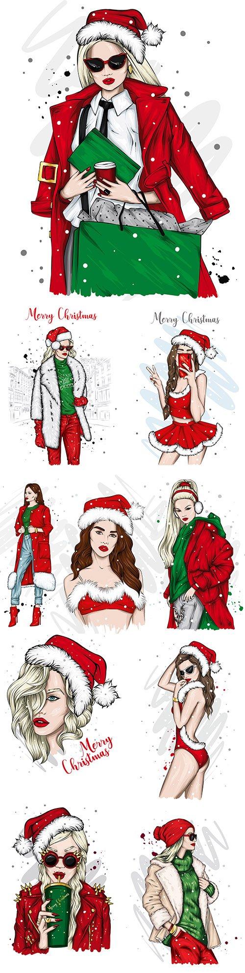 The beautiful girl in Santa's hat Christmas illustrations