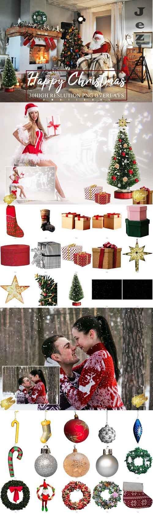30 Happy Christmas Photoshop Overlays, new year holidays - 985528