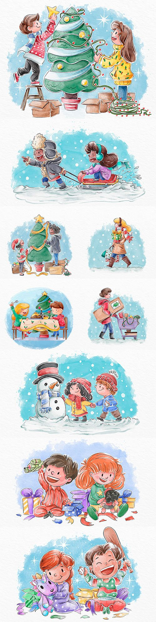 Christmas dinner and gifts illustration of different scenes