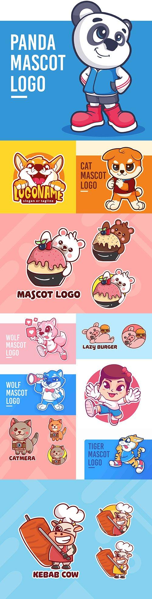 Emblem mascot and Brand name logos design 16