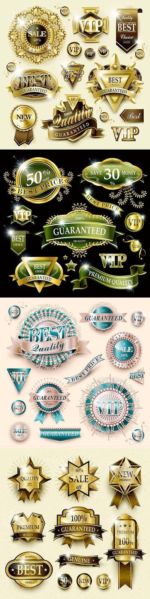 Elegant set labels gold quality premium class collections