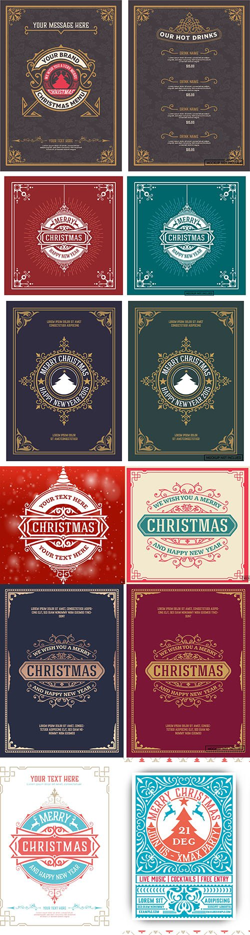 Christmas party flyer retro printing and decoration postcard