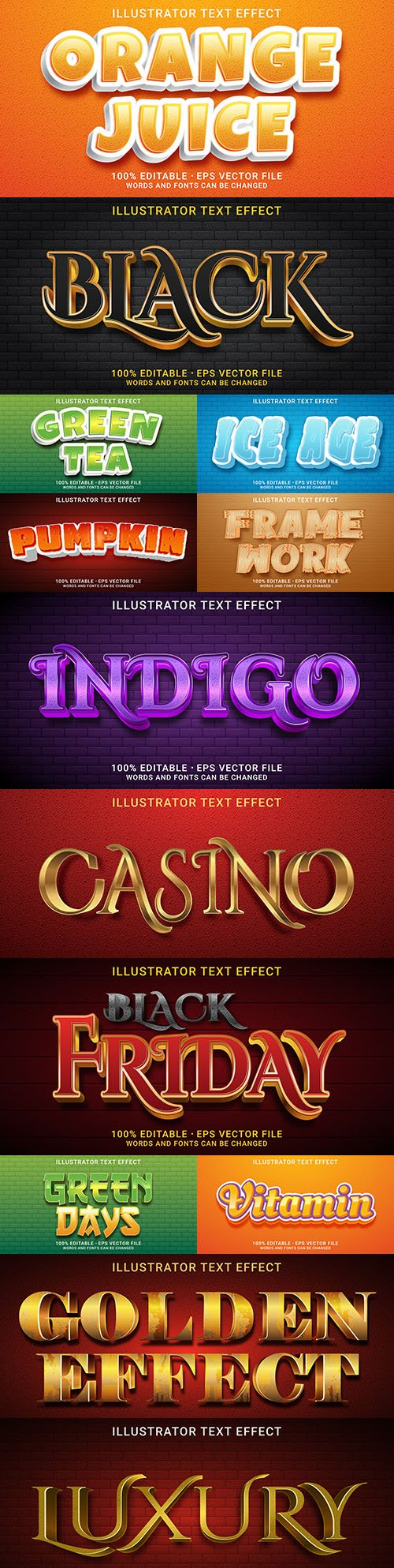 Editable font effect text collection illustration design 222