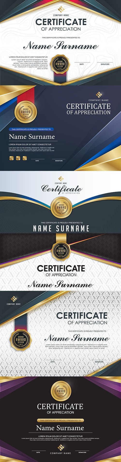 Luxury certificate of gratitude template award design 2