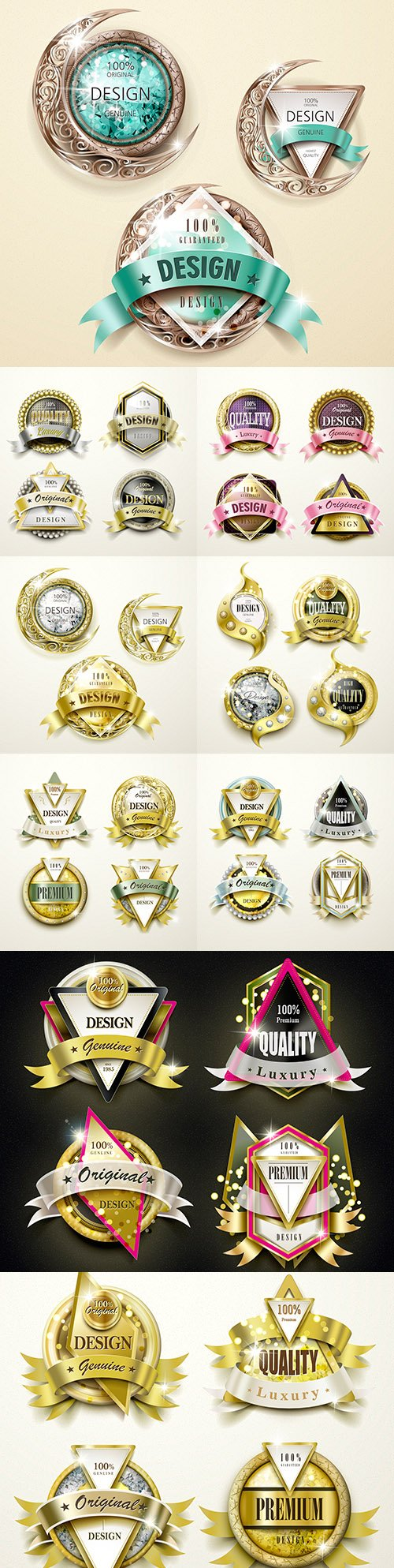 Premium luxury gold and jewelry label collection