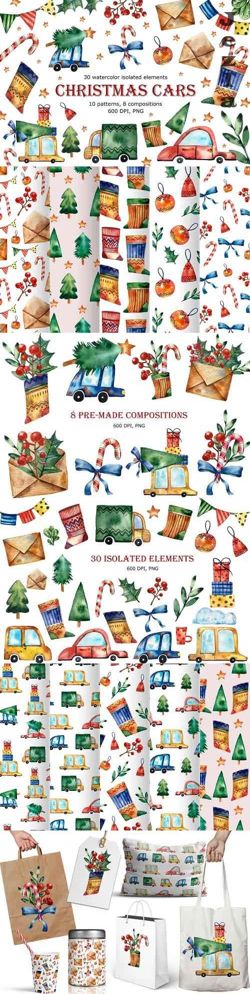 Christmas Cars - Watercolor Clip Art - 5491450