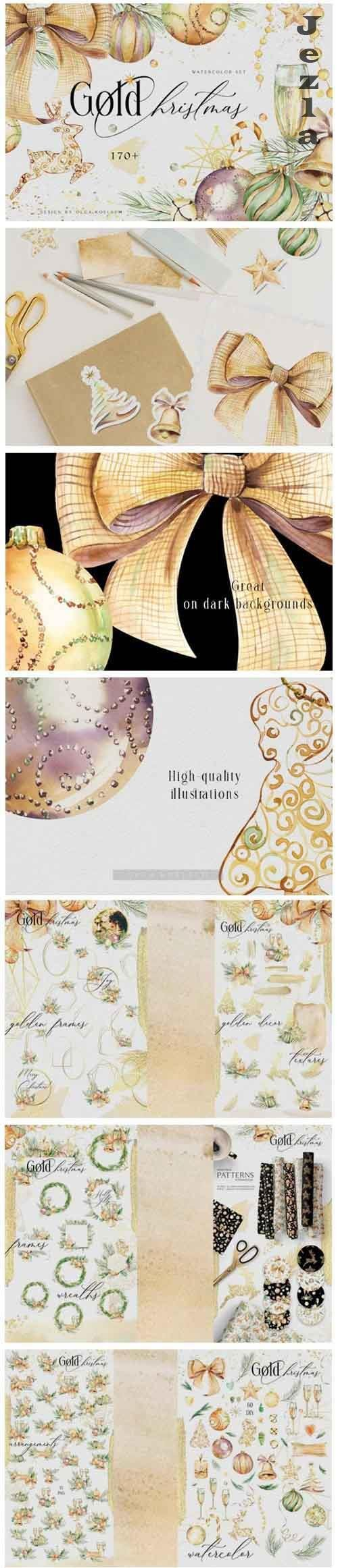 Gold Christmas watercolor collection - 977270