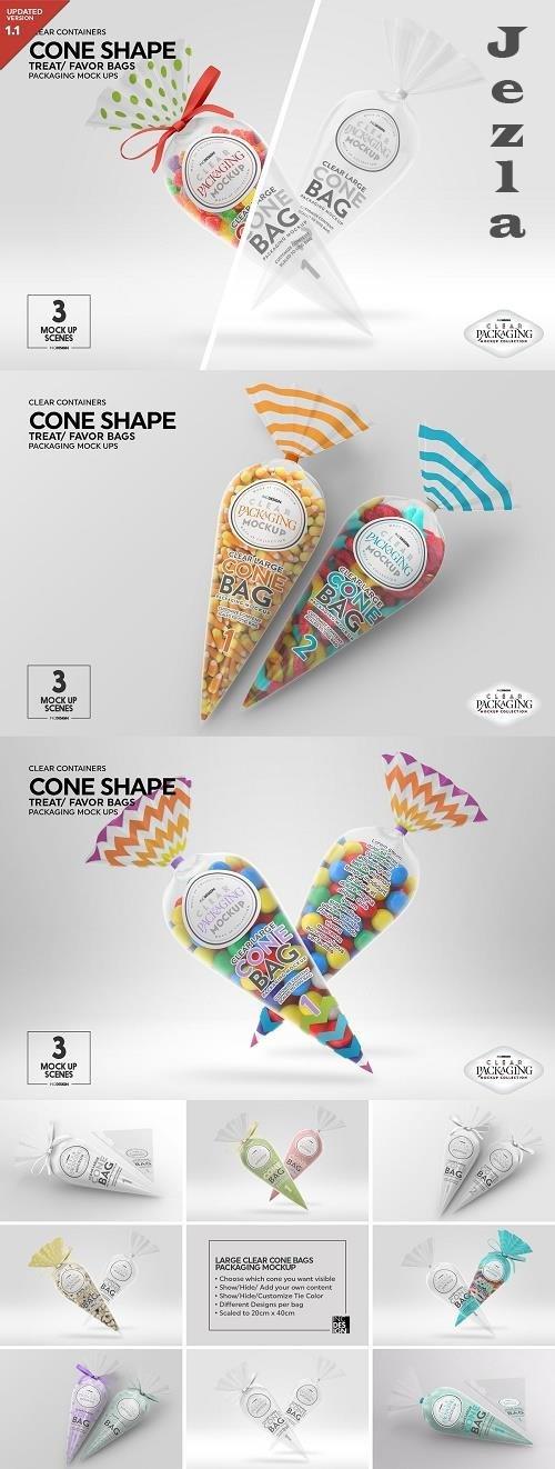 CreativeMarket - Clear Large Cone Bag PackagingMockup 5015888