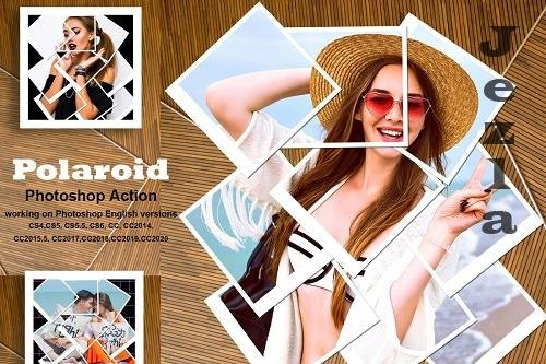 CreativeMarket - Polaroid Photoshop Action 5487881