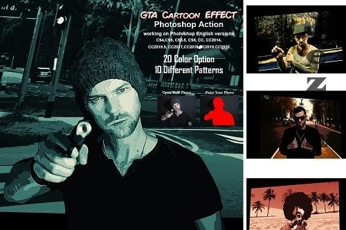 CreativeMarket - GTA Cartoon Effect Photoshop Action 5485273