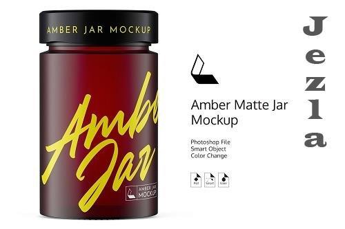 CreativeMarket - Amber Matte Jar Mockup 4944481