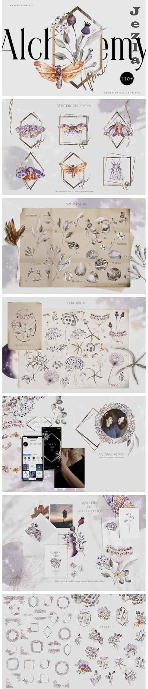 Watercolor dried flower bouquet clipart Boho floral elements - 985145