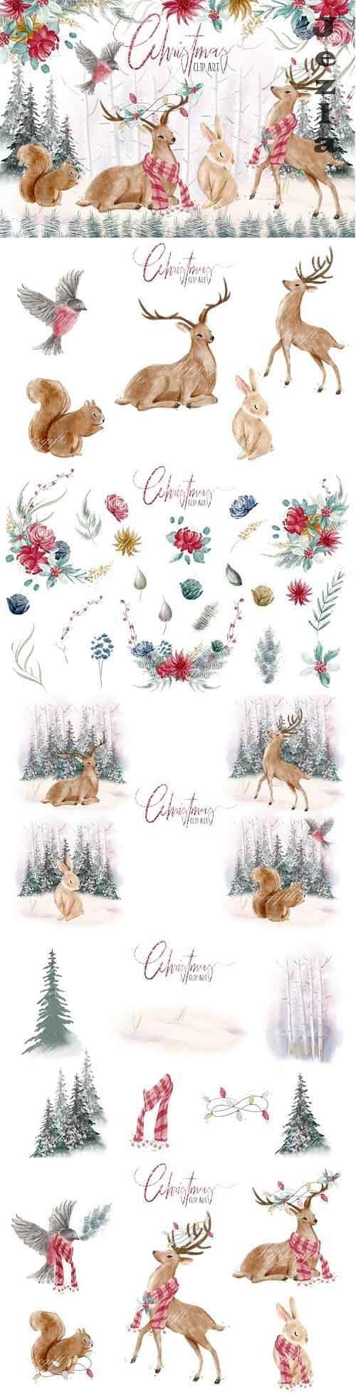 Woodland Christmas clip art - 991246