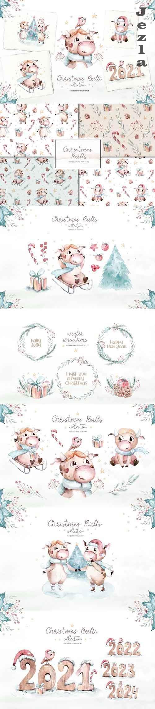 Christmas cute bulls collection! - 5503047