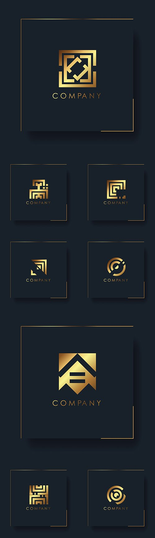 Abstract gold geometric logo company design