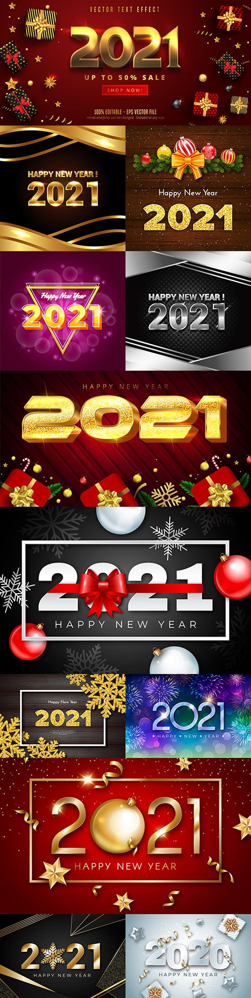 Happy New Year and Christmas 2021 decorative inscription with bright effect