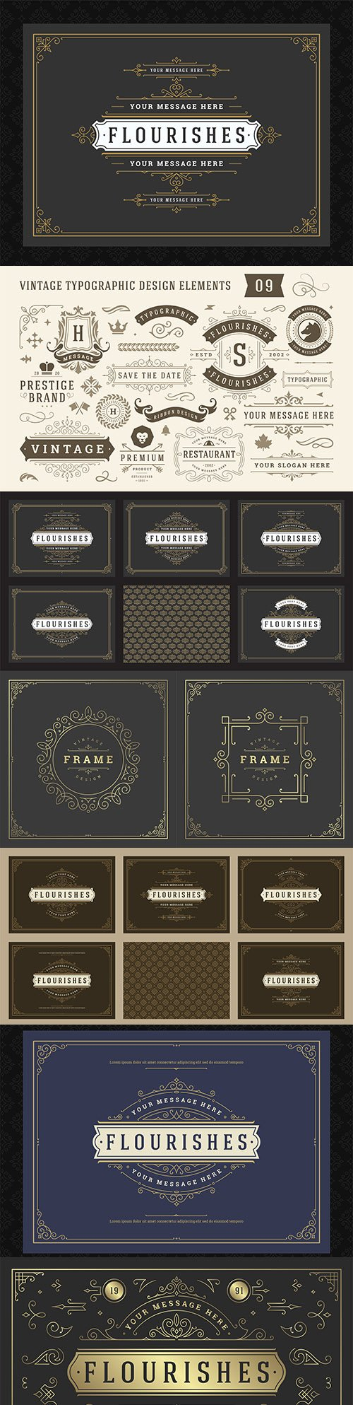 Vintage label with ornament calligraphic decorative curls and vignettes
