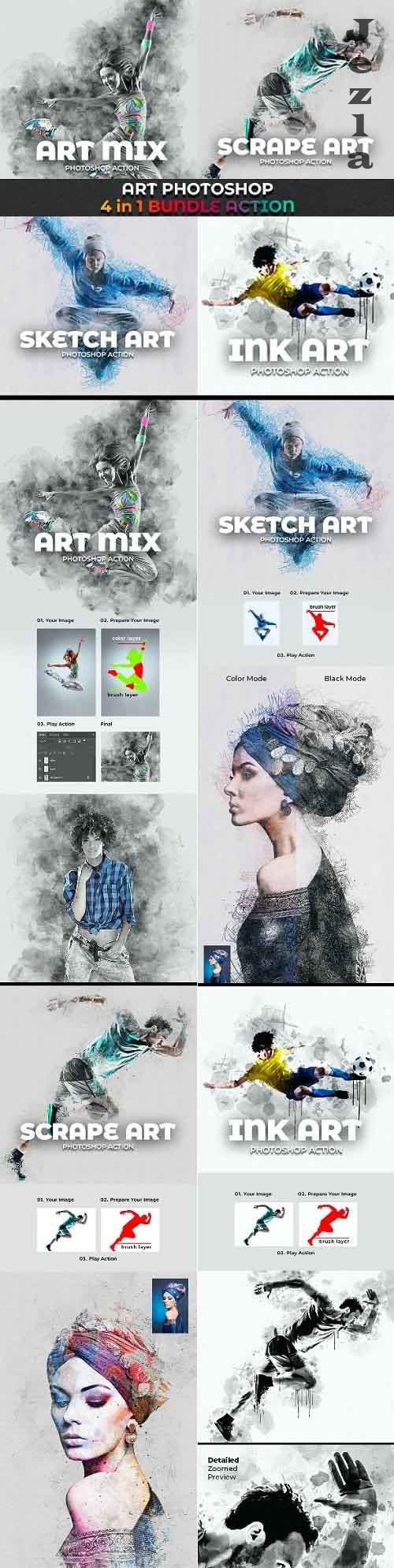 GraphicRiver - Art Photoshop Action 4 in 1 Bundle 29133173