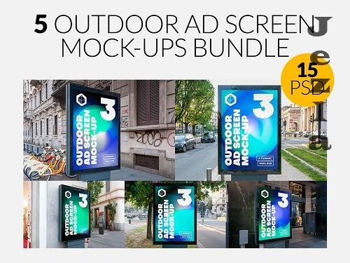 CreativeMarket - Outdoor Ad Screen MockUps Bundle 5 5456869