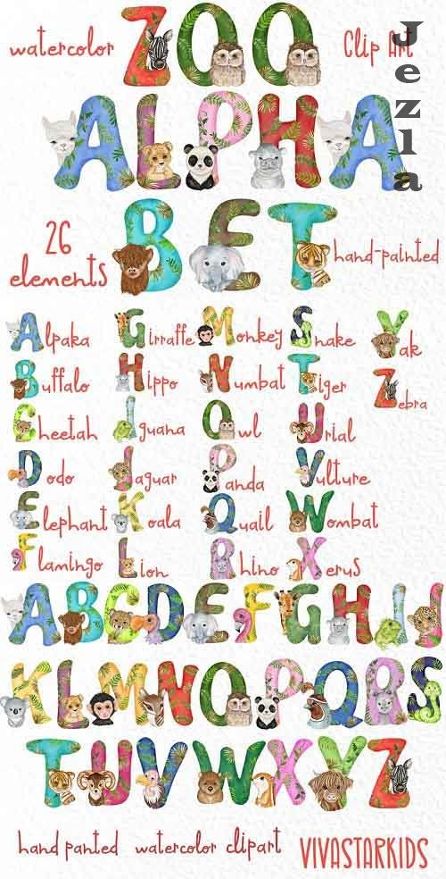 Watercolor animal alphabet clipart - 5553046