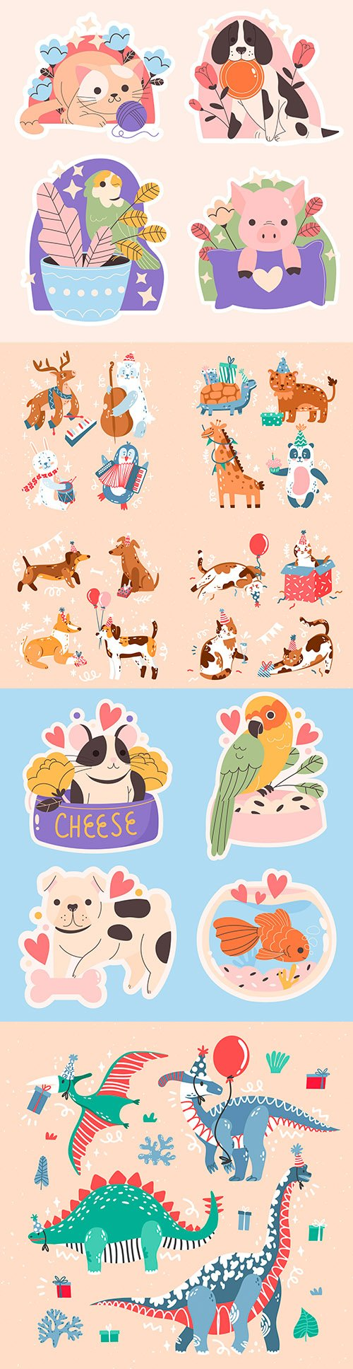 Animal cute collection of pictured birthday illustrations