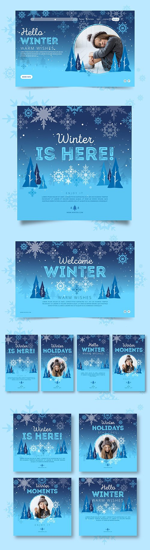 Collection of winter instagram posts and banner template