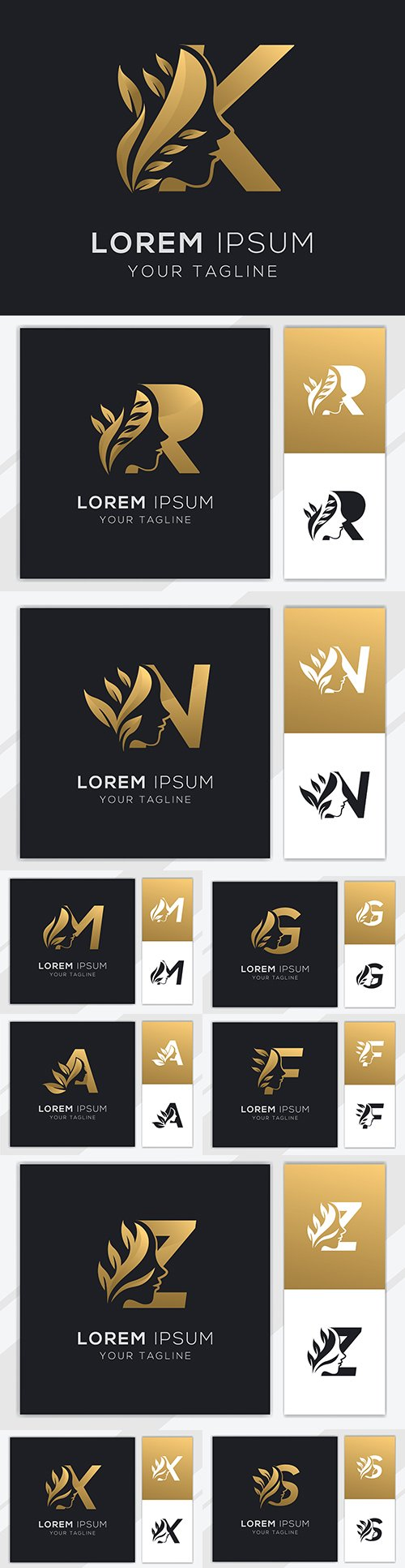 Letter with magnificent template logo natural female beauty