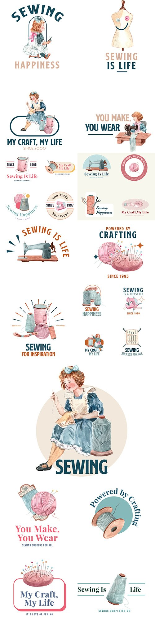 Logo with illustration of watercolor design concept sewing