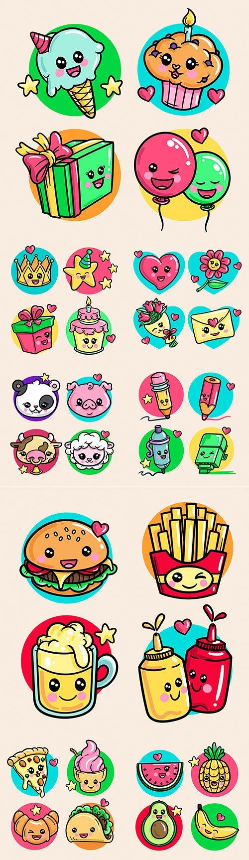Tasty cakes and animal collection of kawaii creativity