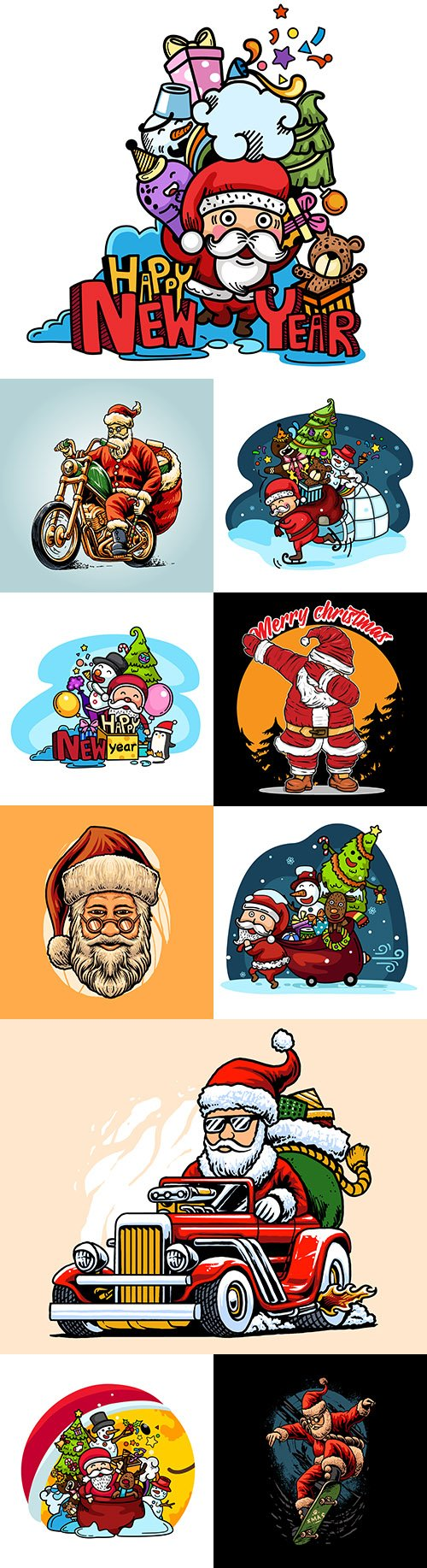 Santa Claus drawing with Christmas party and skateboarding