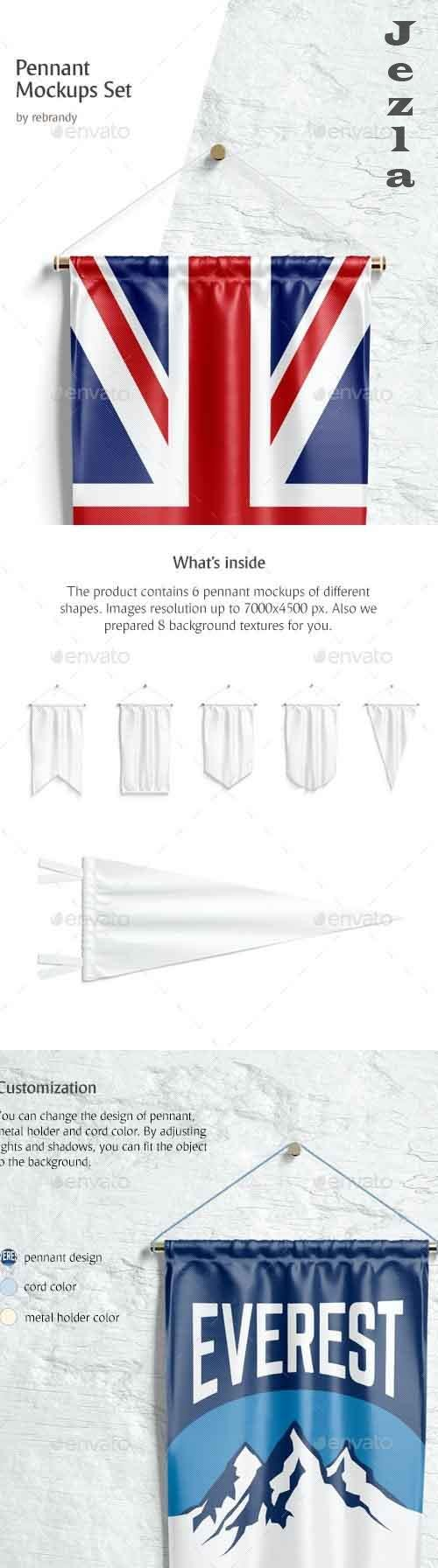 GraphicRiver - Pennant Mockups Set 29162964