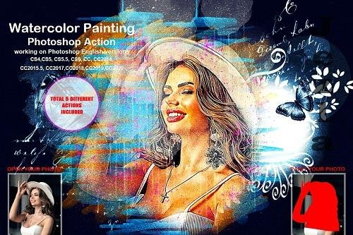 Watercolor Painting Photoshop Action - 5458160