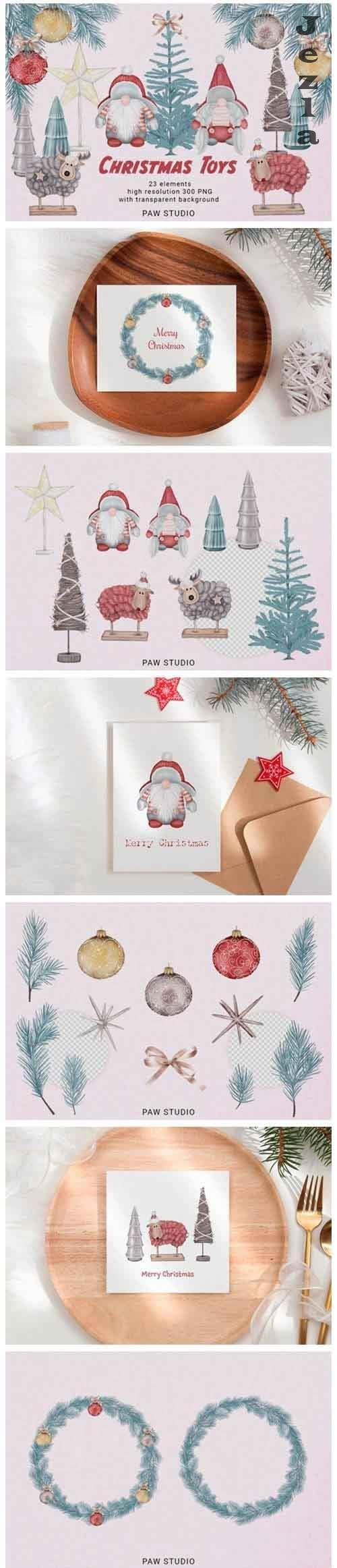 Gnomes Tree Wreath Deer Sheep Holiday Clipart - 1018003