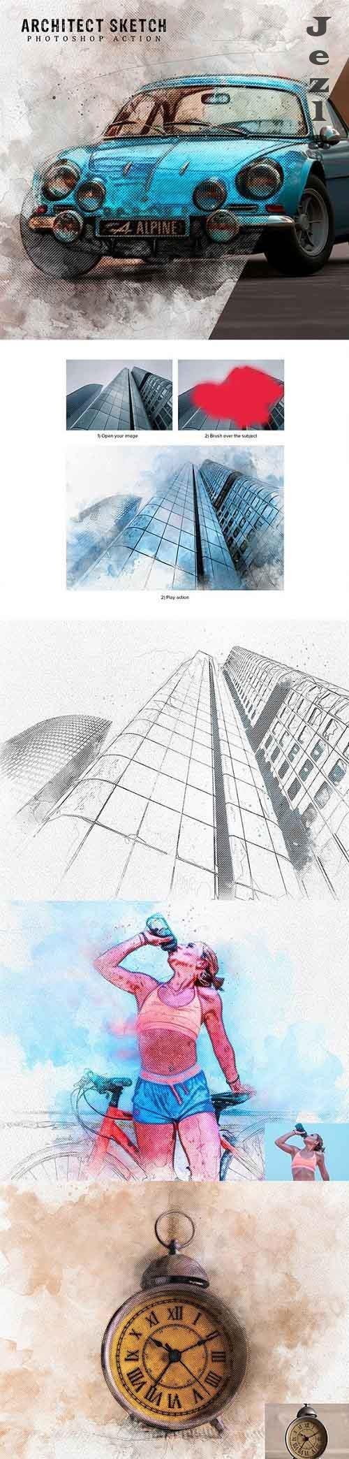 GraphicRiver - Architect Sketch Photoshop Action 28522875