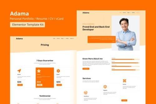 ThemeForest - Adama v1.0 - Personal Portfolio & Resume Elementor Template Kit - 29042602