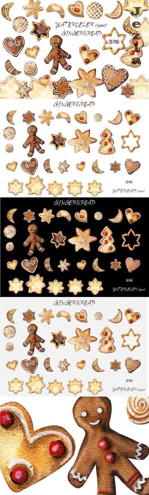 Christmas Gingerbread Watercolor Clipart - 1021052