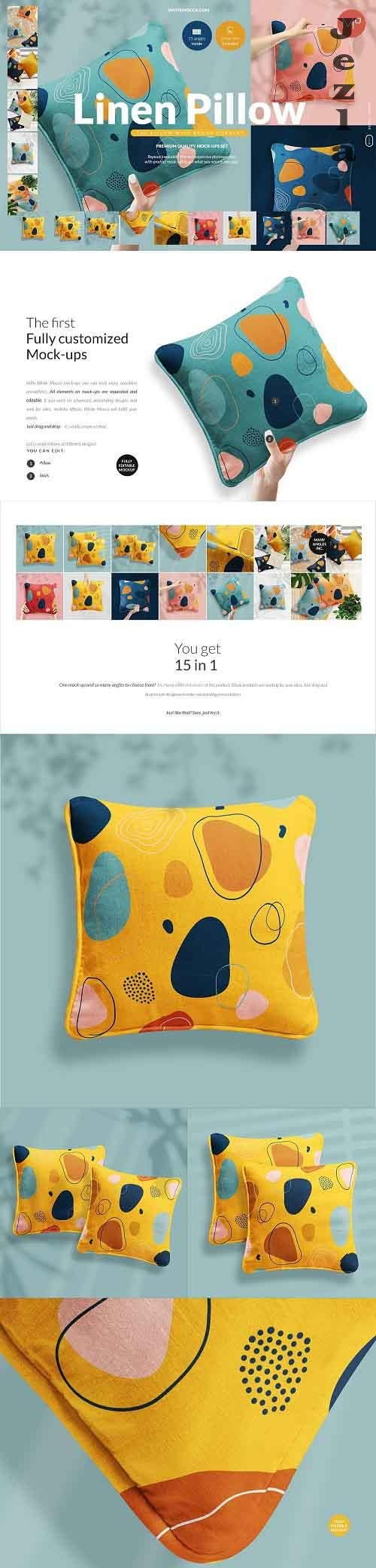 CreativeMarket - Linen Pillow 15x Mock ups Set 5352824