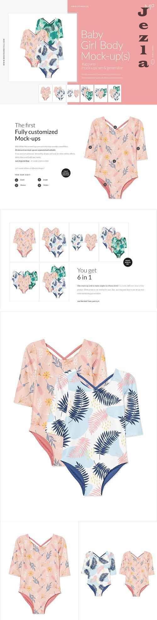 CreativeMarket - Baby Girl Body Mock-ups Set 4523643