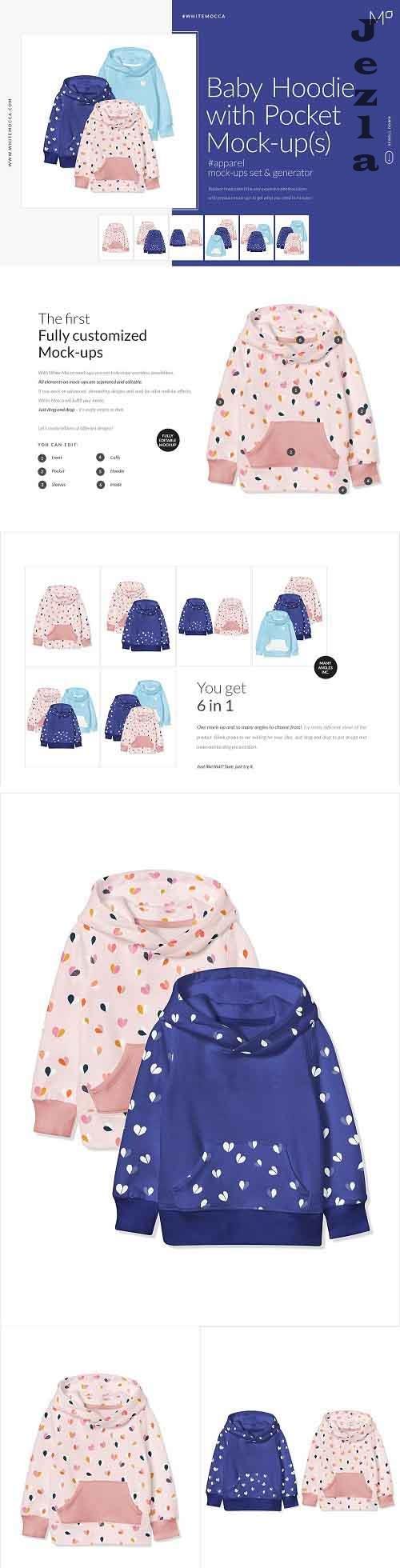CreativeMarket - Baby Hoodie with Pocket Mock-ups 4543496