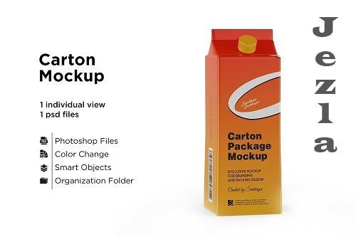 CreativeMarket - Carton Package With Plastic Cap 5558124