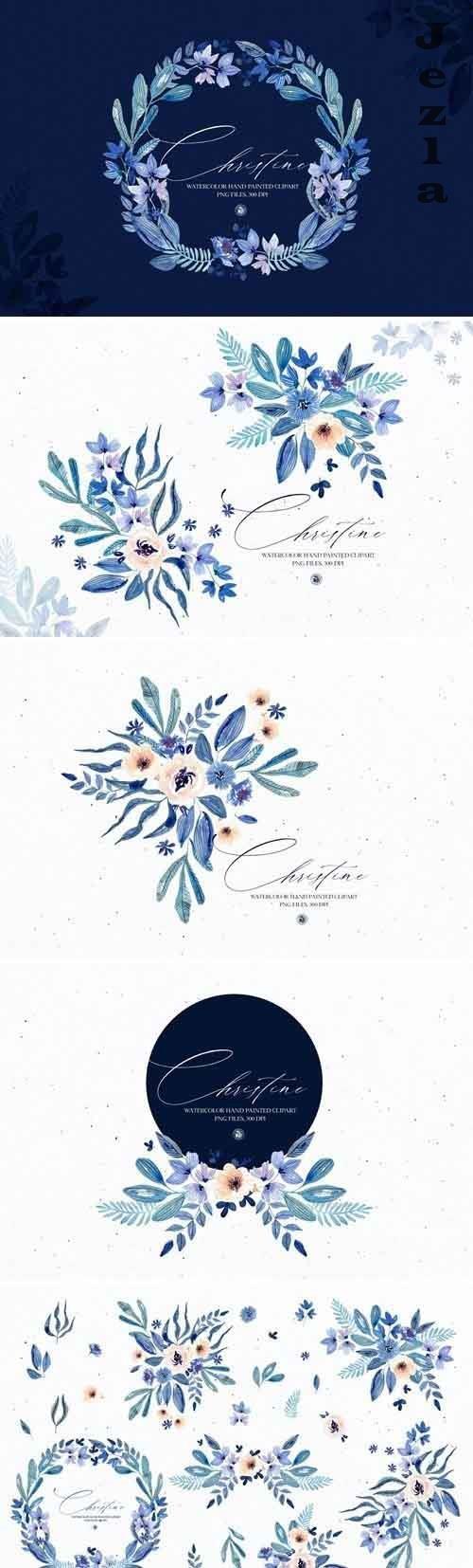 Watercolor floral set - Christine - 5503082
