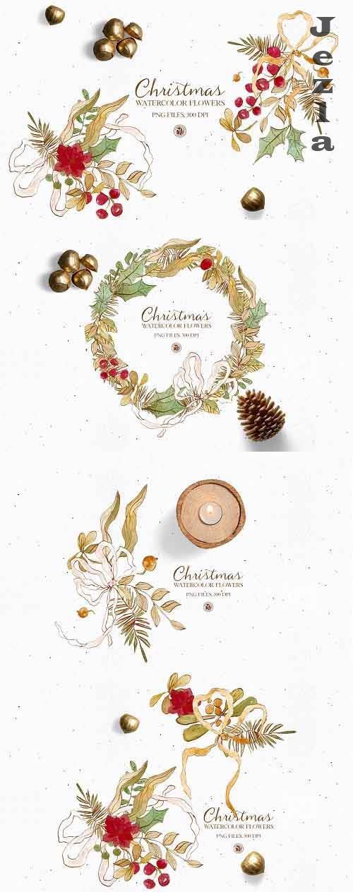 Christmas Flowers - watercolor set - 5542458