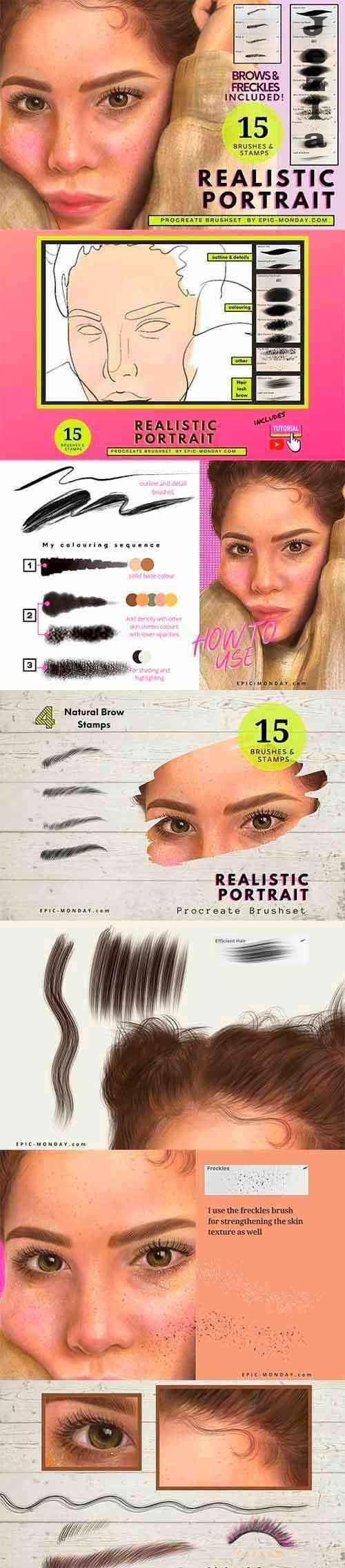 CreativeMarket - Procreate Realistic Portrait Brushes 5490552