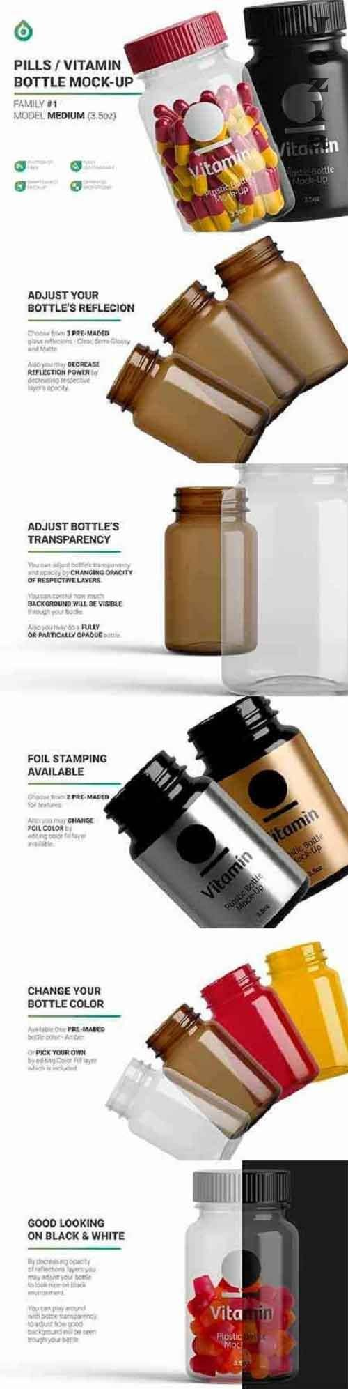CreativeMarket - Vitamins Bottle Mockup 5268107