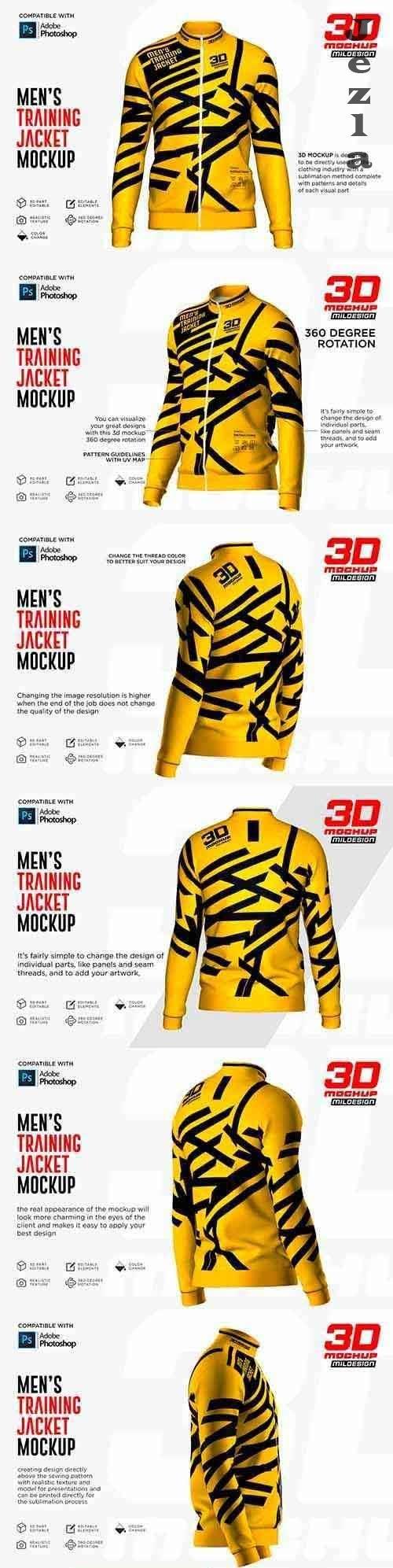 CreativeMarket - 3D Men's Training Jacket Mockup 5271763